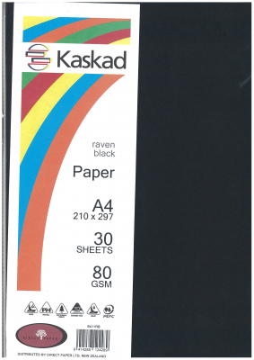 Image of Coloured Paper Kaskad Raven Black A4 30s 80gsm