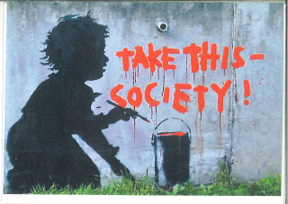 Banksy Take This Society : Greeting Card