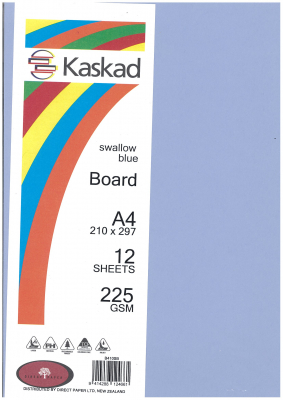 Image of Board Kaskad Swallow Blue A4 225gsm 12 Sheets
