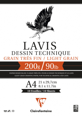 Image of Pad Clairefontaine Lavis A4 Technical Drawing 200gsm