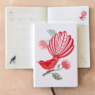 Image of A5 Hardcover Journal : Fantail And Pohutukawa