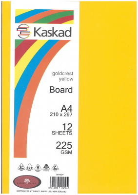 Image of Board Kaskad Goldcrest Yellow A4 225gsm 12 Sheets