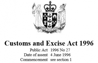 Image of Customs & Excise Act 1996 Reprint As At 29 July 2016