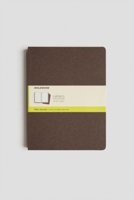 Image of Journal Moleskine Cahiers Sc Extra Large Plain Coffee Brown Set Of 3
