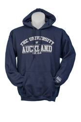 Image of Auckland Varsity Navy Hoodie With Grey Logo Large