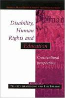 Image of Disability Human Rights And Education : Cross Cultural Perspectives
