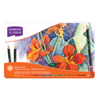 Image of Coloured Pencils Derwent Academy Tin Of 36