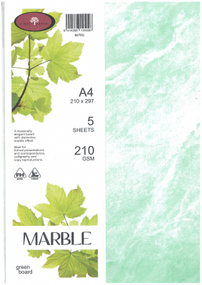 Image of Board A4 Marble Green 210gsm 5 Sheets