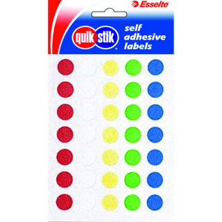 Image of Labels Quik Stik Circle 14mm Assorted 120 Pack