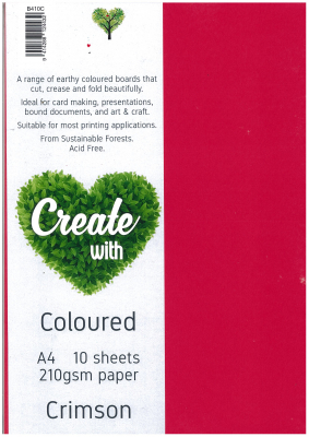 Image of Board Direct Paper Crimson A4 210gsm 10 Pack