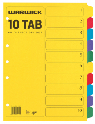 Image of Subject Dividers Warwick A4 10 Tab Coloured