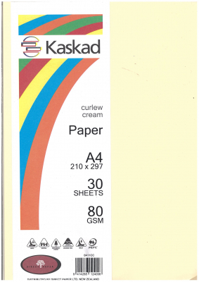 Image of Coloured Paper Kaskad Curlew Cream A4 80gsm 30s