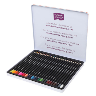 Image of Coloured Pencils Derwent Academy Tin Of 24