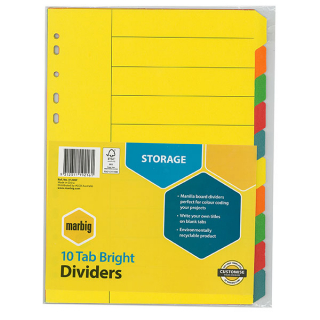 Image of Subject Dividers Marbig A4 Bright 10 Tab