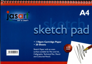 Image of Sketch Pad Jasart A4 Spiral 20 Sheets