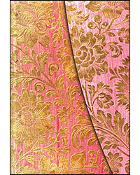 Image of Brocaded Paper Golden Fuscia Lined Journal Ultra Format