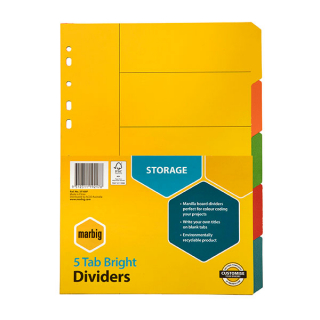 Image of Subject Dividers Marbig A4 Bright 5 Tab