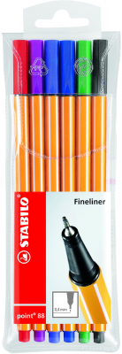 Image of Pen Stabilo Point 88 Fine 6 Pack