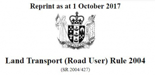 Image of Land Transport Road User Rule 2004 : Reprint As At 1 October2017
