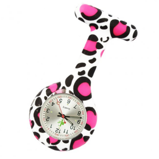 Image of Nurses Watch Silicone Pink Leopard Fob