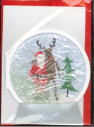 Image of 3d Snowglobe Santa And Reindeer : Greeting Card Christmas