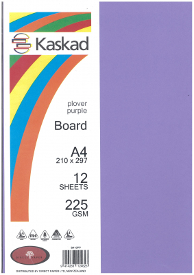 Image of Board Kaskad Plover Purple A4 225gsm 12 Sheets