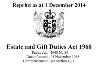 Estate And Gift Duties Act 1968 : Reprint As At 12 November 2018