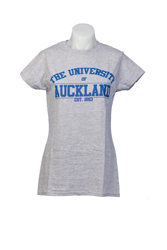 Auckland Varsity Women's Grey Tee With Blue Logo Small