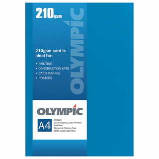 Image of Card Olympic A4 210gsm 12 Pack Intensive Blue