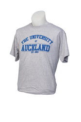 Image of Auckland Varsity Grey Tee With Blue Logo Xs