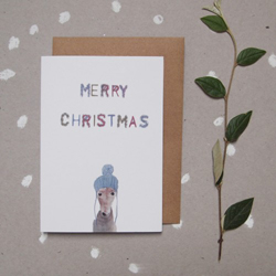 Beanie Wearing Dog Merry Christmas : Greeting Card Christmas