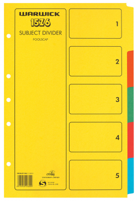 Subject Dividers Warwick Foolscap 5 Tab Coloured
