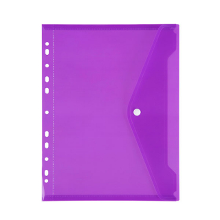 Image of Binder Pocket Marbig Button Closure Purple