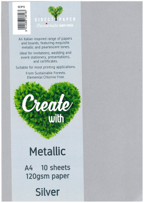 Image of Paper Metallic 120gsm A4 Silver 10 Pack