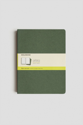 Image of Journal Moleskine Cahiers Sc Extra Large Plain Myrtle Green Set Of 3