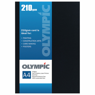 Image of Card Olympic A4 210gsm 12 Pack Black