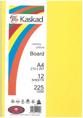 Image of Board Kaskad Canary Yellow A4 225gsm 12 Sheets