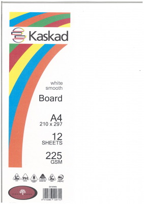 Image of Board Kaskad White Smooth A4 225gsm 12 Sheets