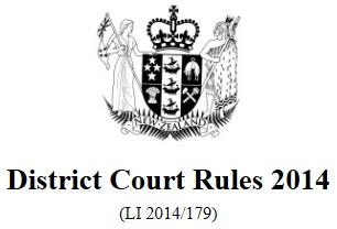 Image of District Court Rules 2014 Reprint As At 1 September 2017