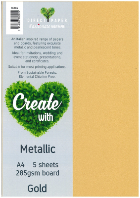 Image of Board Metallic 285sm A4 Gold 5 Pack