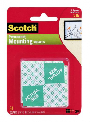 Image of Mounting Squares 3m Scotch Permanent 24 Pack