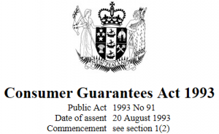 Consumer Guarantees Act 1993 Reprint As At 1 September 2017