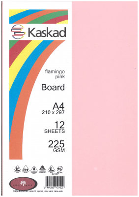 Image of Board Kaskad Flamingo Pink A4 225gsm 12 Sheets