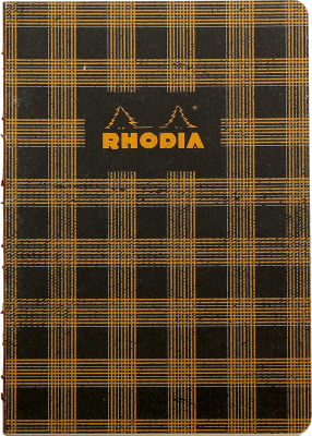 Image of Notebook Rhodia Heritage Raw Bound A5 Tartan Black