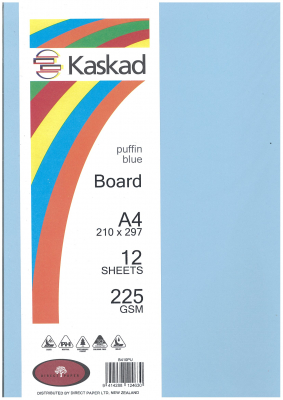 Image of Board Kaskad Puffin Blue A4 225gsm 12 Sheets