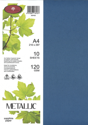 Image of Paper Metallic 120gsm A4 Sapphire 10 Pack
