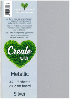 Image of Board Metallic 285sm A4 Silver 5 Pack