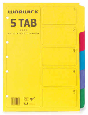 Subject Dividers Warwick A4 5 Tab Coloured