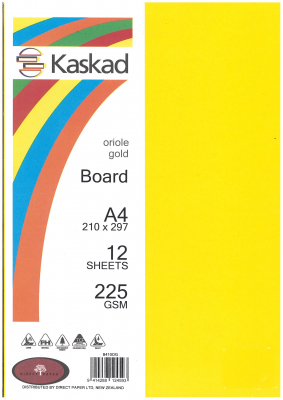 Image of Board Kaskad Oriole Gold A4 225gsm 12 Sheets