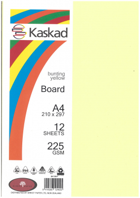 Image of Board Kaskad Bunting Yellow A4 225gsm 12 Sheets
